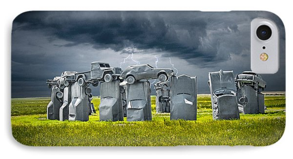 Car Henge In Alliance Nebraska After England's Stonehenge IPhone Case by Randall Nyhof