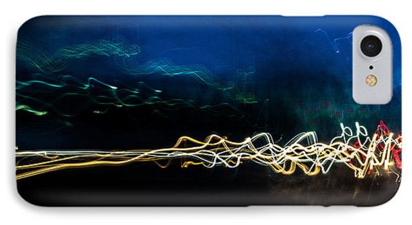 Car Light Trails At Dusk In City IPhone Case by John Williams