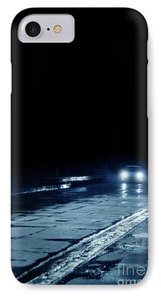Car On A Rainy Highway At Night IPhone Case by Jill Battaglia
