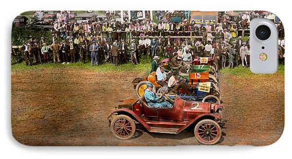 Car - Race - On The Edge Of Their Seats 1915 IPhone Case by Mike Savad