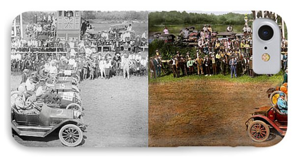 Car - Race - On The Edge Of Their Seats 1915 - Side By Side IPhone Case by Mike Savad