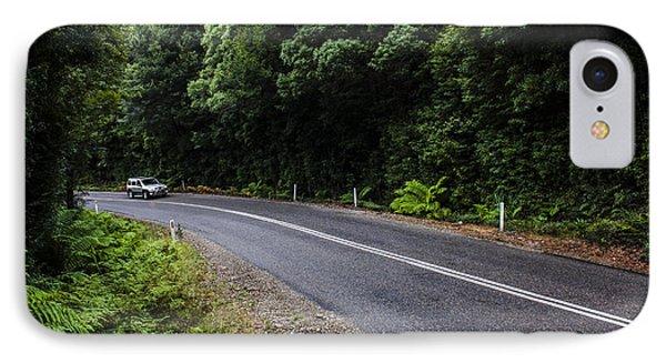 Car Travelling Through Rainforest In West Tasmania IPhone Case