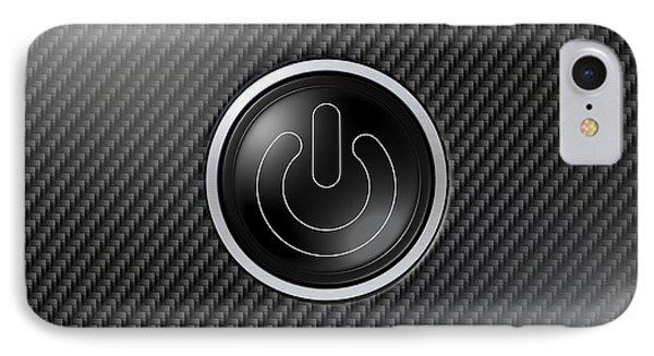 Carbon Fiber Power Button IPhone Case by Allan Swart