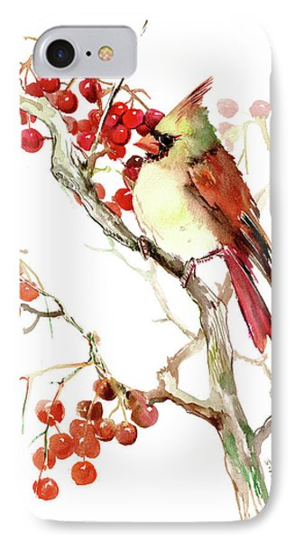 Cardinal Bird And Berries IPhone Case