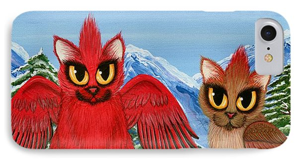 Cardinal Cats IPhone Case by Carrie Hawks