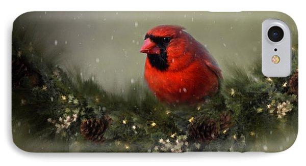 Cardinal Merry Christmas IPhone Case by Ann Bridges