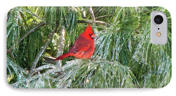 Cardinal On Ice IPhone Case by John Freidenberg
