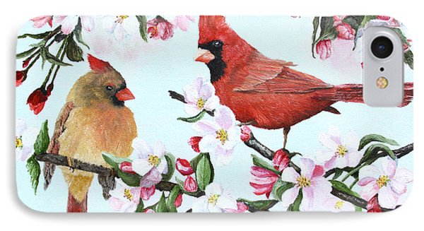 Cardinals And Apple Blossoms Phone Case by Johanna Lerwick
