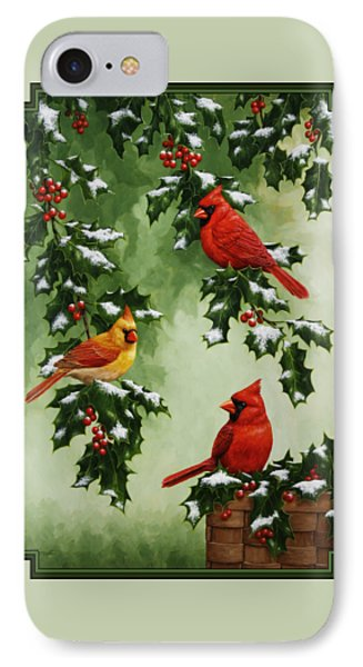 Cardinals And Holly - Version With Snow Phone Case by Crista Forest