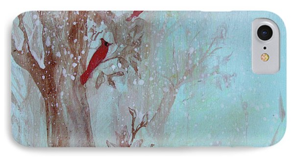 IPhone Case featuring the painting Cardinals In Trees Whilst Snowing by Robin Maria Pedrero