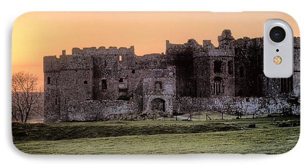 Carew Castle Coral Sunset IPhone Case by Steve Purnell