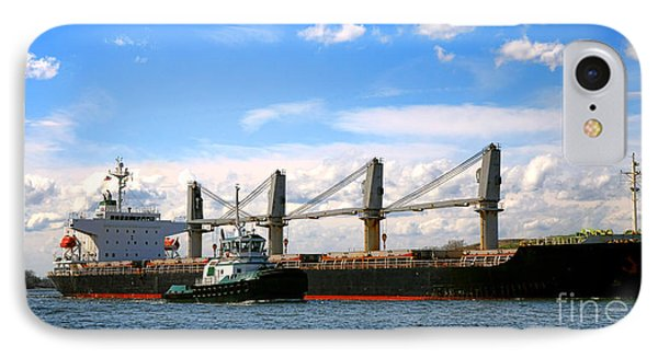 Cargo Ship And Tugboats  IPhone Case by Olivier Le Queinec