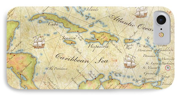 Caribbean Map II IPhone Case