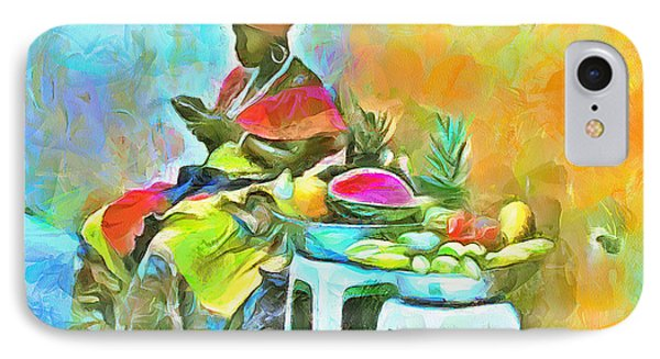 Caribbean Scenes - De Fruit Lady IPhone Case by Wayne Pascall