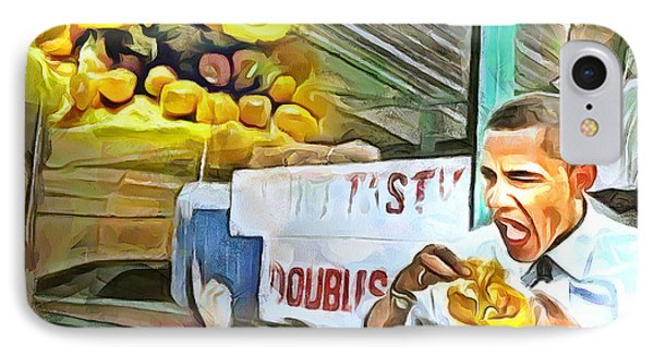 Caribbean Scenes - Obama Eats Doubles In Trinidad IPhone Case by Wayne Pascall