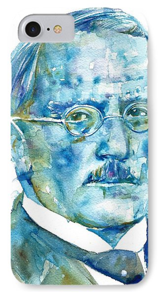 Carl Jung - Watercolor Portrait.6 IPhone Case by Fabrizio Cassetta