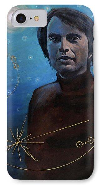 Carl Sagan- Voyager IPhone Case by Simon Kregar