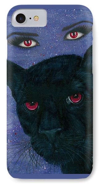 IPhone Case featuring the painting Carmilla - Black Panther Vampire by Carrie Hawks