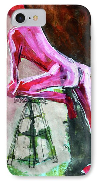 IPhone Case featuring the painting Carmine Figure No. 3 by Nancy Merkle