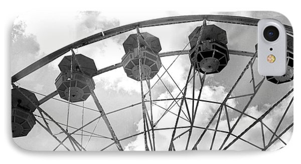 IPhone Case featuring the photograph Carnival Ferris Wheel Black And White Print - Carnival Rides Ferris Wheel Black And White Art Prints by Kathy Fornal