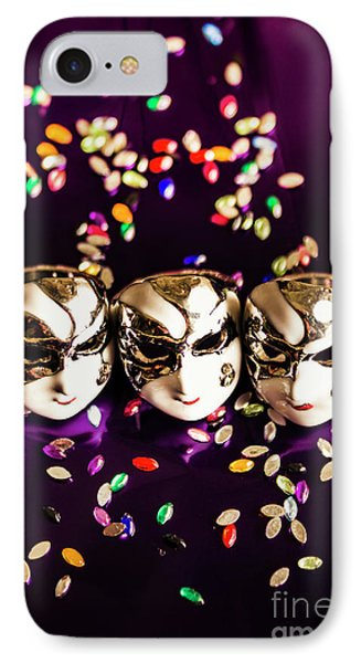 Carnival Mask Jewelry On Purple Background IPhone Case by Jorgo Photography - Wall Art Gallery