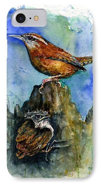 Carolina Wren And Baby Phone Case by John D Benson