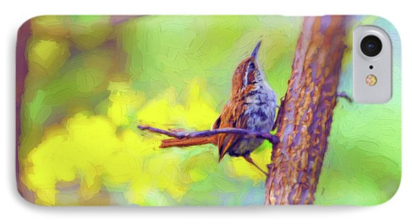 IPhone Case featuring the photograph Carolina Wren In The Autumn Forest by Kerri Farley