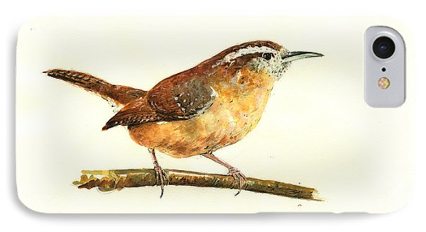 Carolina Wren Watercolor Painting IPhone Case by Juan  Bosco