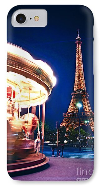 Carousel And Eiffel Tower IPhone Case by Elena Elisseeva