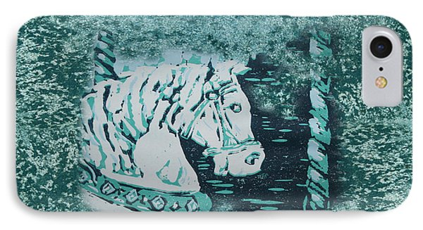 Carousel Horse Aquamarine IPhone Case by Lyndsey Hatchwell