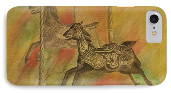 Carousel Horses IPhone Case by Lynn Hughes