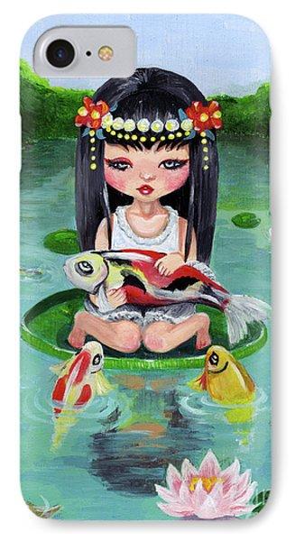 Carp And Girl IPhone Case by Akiko Okabe