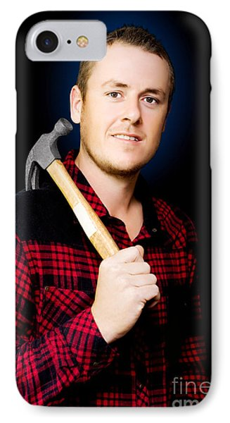 Carpenter With A Hammer IPhone Case by Jorgo Photography - Wall Art Gallery