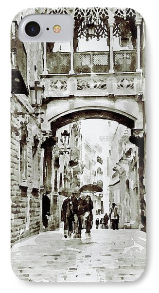 Carrer Del Bisbe - Barcelona Black And White IPhone Case by Marian Voicu