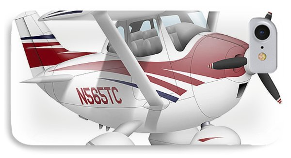 Cartoon Illustration Of A Cessna 182 IPhone Case by Inkworm