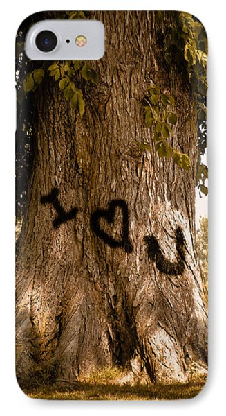 Carve I Love You In That Big White Oak IPhone Case by Trish Tritz