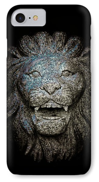 Carved Stone Lion's Head Phone Case by Loriental Photography