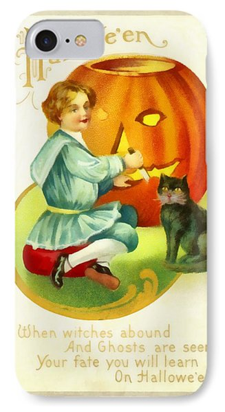 Carving A Pumpkin With Your Cat IPhone Case by Unknown