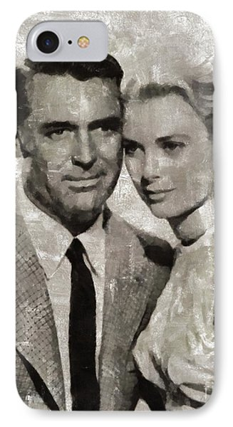 Grace Kelly iPhone 7 Case - Cary Grant And Grace Kelly, Hollywood Legends by Mary Bassett