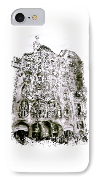 Casa Batllo Barcelona Black And White IPhone Case