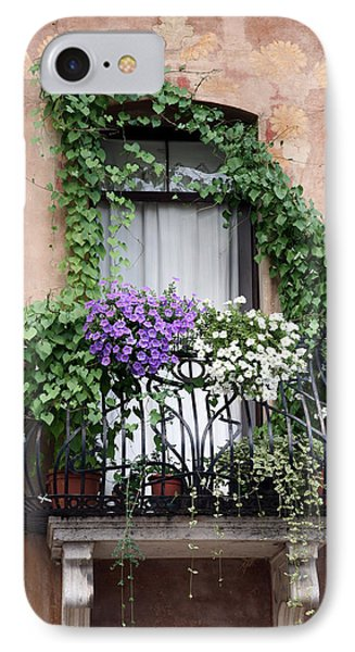 IPhone Case featuring the photograph Cascading Floral Balcony by Donna Corless