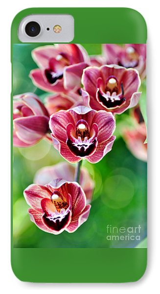 Cascading Miniature Orchids IPhone Case by Kaye Menner
