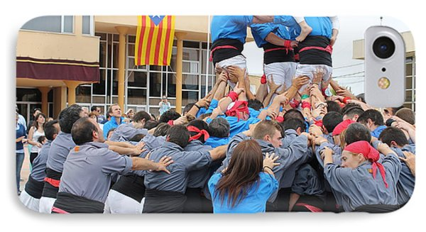 Casteller Catalan Human Tower Spain IPhone Case by Jane Linders