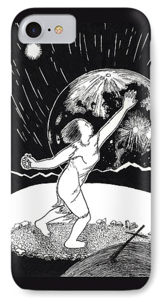 IPhone Case featuring the drawing Casting The Stones From Squaw Winter by Dawn Senior-Trask