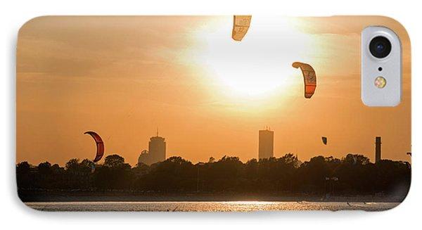 Castle Island Kite Boarders Boston Ma Sunset IPhone Case