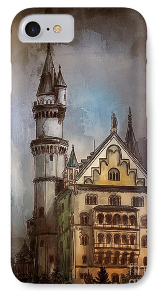 IPhone Case featuring the painting Castle Neuschwanstein by Andrzej Szczerski