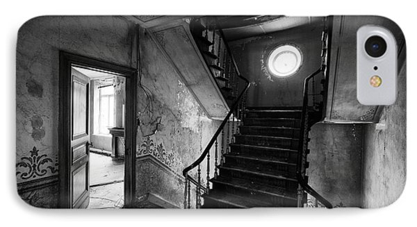 Castle Stairs - Abandoned Building Bw IPhone Case by Dirk Ercken