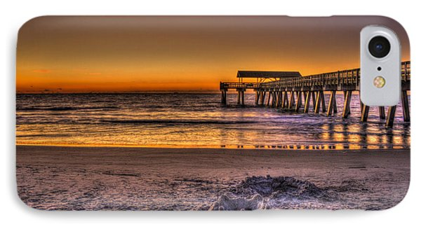 Castles In The Sand Tybee Island Pier Sunrise Art IPhone Case by Reid Callaway