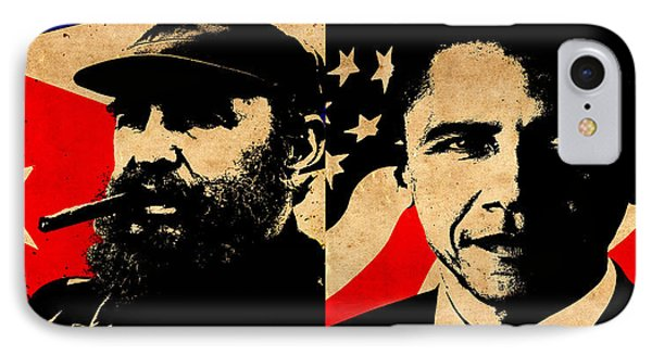 Castro And Obama IPhone Case by Andrew Fare