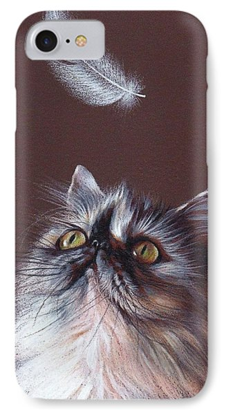 Cat And Feather IPhone Case by Elena Kolotusha